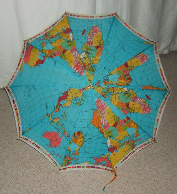 VINTAGE WORLD MAP UMBRELLA Lacquered Wood Handle FULL SIZED + National Flags