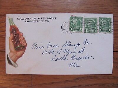 1937 COCA COLA BOTTLING WORKS SISTERSVILLE W. VA. / WV CO. ENVELOPE w/ BOTTLE