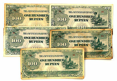 10 Burma 1940's WW2 paper money 100 Rupees Japanese invasion circ.