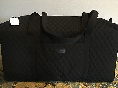 Vera Bradley Large Duffel Bag in Classic Black Microfiber New With Tags
