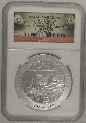 2014		China 1Oz Silver Panda Smithsonian Institution Official Mint Med	Gem Proof