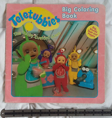 VINTAGE LARGE TELETUBBIES Tubby Custard Mess Big Coloring Book 1998