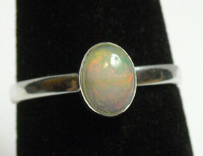 925 Sterling Silver Ring Womens Size 7 Multicolor Natural Fire Opal Handmade NEW