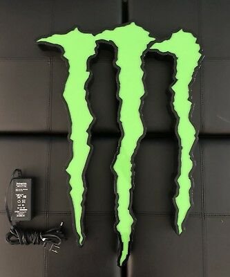 MONSTER ENERGY LED LARGE NEON SIGN 25x18 - ART DECO BAR MAN CAVE - Not Working
