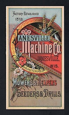 Scarce 1880s Trade Card Folder - JANESVILLE MACHINE CO WI - Mowers & Reapers