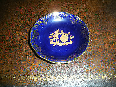 limoges france porcelaine d art cobalt blue gold trinket tray miniature courting cad. Black Bedroom Furniture Sets. Home Design Ideas