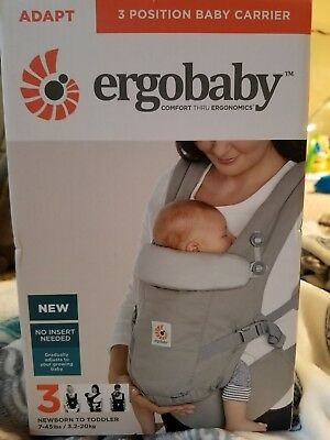 100% Authentic Ergobaby Adapt 3 Positions Baby Carrier - Pearl Grey - NEW 2017