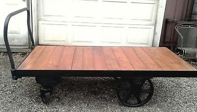 ANTIQUE FACTORY Lumber Railroad Cart Coffee Table Nutting Faribault
