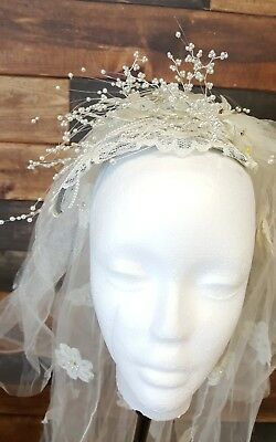 vintage wedding veil and headpiece with beads sprays appliques