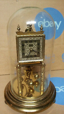 Vintage Kundo Brass Anniversary Clock Germany With glass Dome