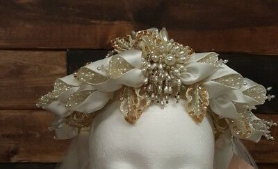 vintage bridal wedding headpiece and Veil, very ornate lots of beads and ribbon