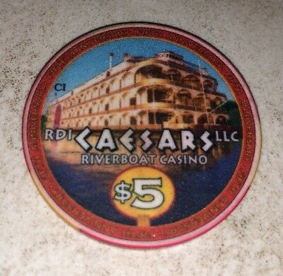 Caesars Riverboat Casino $5 Casino Chip Harrison County Indiana 2.99 Shipping