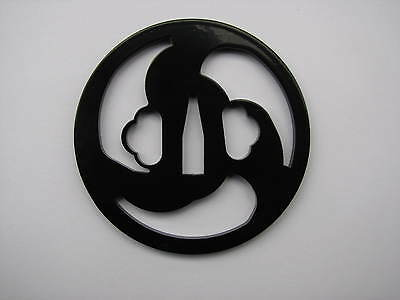 1 Black Powder Coated Top Grade Tsunami Iron Tsuba - Japanese Katana Wakizashi