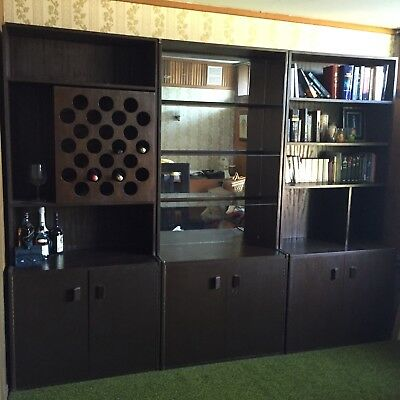Wall Unit - Solid Timber Hand-made, With Wine Rack, Mirror And Bookshelves