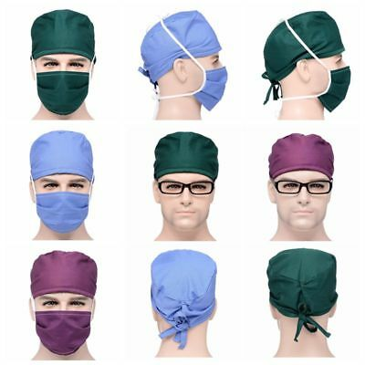 New Hospital Scrub Cap Doctor & Nurses Solid Medical Surgical Surgery Hat Mask