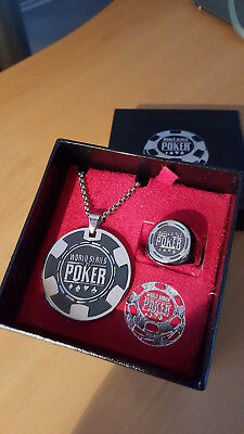 Triton WSOP Stainless Steel Authentic Ring and Necklace