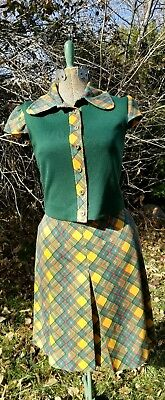 Pacemaker brand vintage 2 piece outfit. juniors rainbow/green plaid. Groovy.