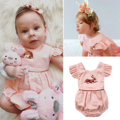 US Newborn Kids Baby Girl Easter Romper Jumpsuit Cotton Bodysuit Clothes Outfit