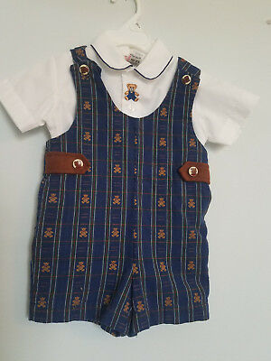 Vintage Baby Boys 24 Month Blue Plaid Teddy Bear Jon Jon, Boutique Easter Outfit