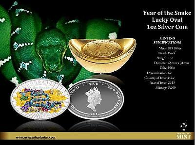 Niue 2013 $2 Lunar Year of the Snake- Lucky oval 1 Oz Silver Proof Coin