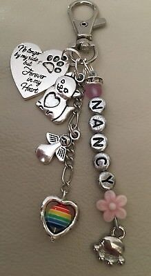 🌈 Personalised Pet Memory KeyRing, Loss of Dog, Cat, Any Pet, Rainbow Bridge🌈