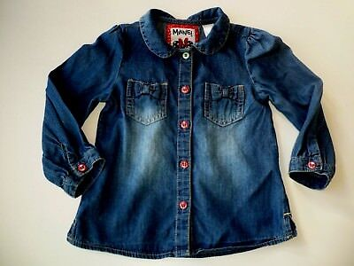 Langarm Jeans Bluse in Gr.80 blau Minnie Mouse