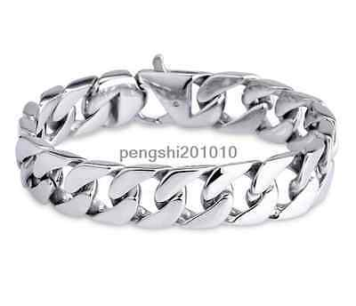 Mens Large Heavy Link Wrist Silver Polished 316L Stainless Steel BraceletKB27123