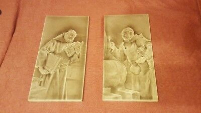 Dos Emaux Ombrants Azulejos Craven Dunnill Jackfield c1880 -monks