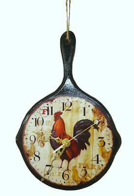 Country Rooster Wood Cast Iron Skillet-look CLOCK Hand Crafted