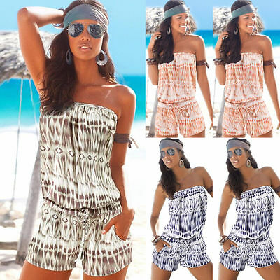 UK Women Ladies Off Shoulder Strapless Playsuit Beach Shorts Jumpsuit Mini Dress