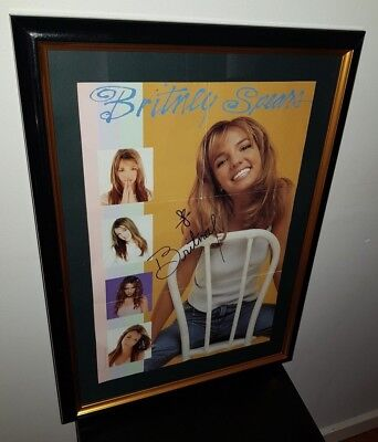 Britney Spears - Hand Signed With Coa - Rare Framed Autographed Foldout Poster