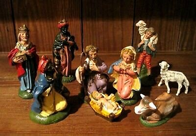 Vintage Nativity Figures Set, FONTANINI, Fountain Mark, Numbered, Polymer 1970's