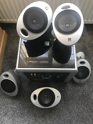 KEF PSW2010 Powered Subwoofer with 5 egg shaped speakers
