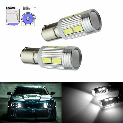 2x White H6W 434 64132 BAX9s Bulb CREE LED Sidelight Indicator Reverse Light DRL