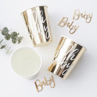 GOLD FOILED OH BABY! PAPER CUPS - Baby Shower-Gender Reveal, Party Tableware