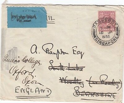 Singapore 1935 Paquebot postmark on GB 6d. KGV on cover to England. Very scarce