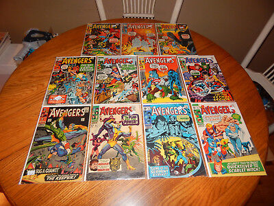 WOW Large Silver Age Comic Lot Of 11 Avengers Comics #31 - 90 Avg. FN+  Cd