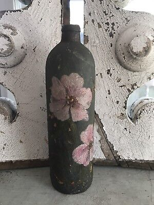 Very Early Antique Tole Painted Jug Bottle PINK Wild Roses Ca 1800s