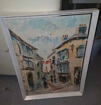 vintage antique oil on board picture French town scene signed rare 99p start onl