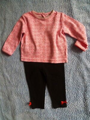 Baby clothes GIRL 6-9m outfit long sleeve pink/red top/black leggings SEE SHOP!
