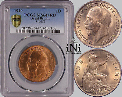 iNi  Great Britain, George V, Penny 1919, Red!, PCGS MS 64+ RD
