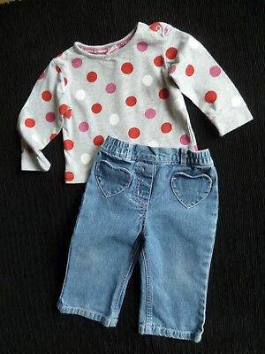 Baby clothes GIRL 6-9m outfit Blue Zoo spot grey top/M&Co faded blue jeans