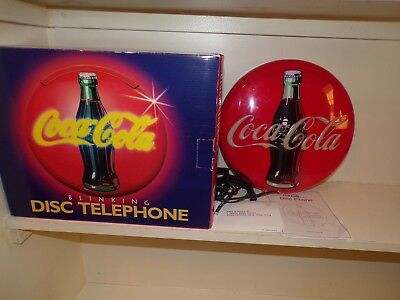 VTG NIB Coca Cola blinking disk neon lights musical ringer telephone phone wall