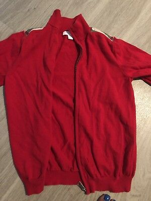 BURBERRY Children Red Full Zip Sweater Plaid Shoulder Kids Size 10y Unisex Boys