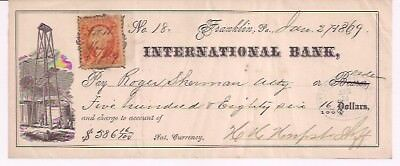 International Bank. Jan. 2, 1869. Franklin, Pa. H. H. Herpst