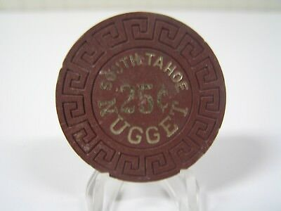 Vintage Dark Brown $.25 Chip from the South Tahoe Nugget Casino.  Rare Color.