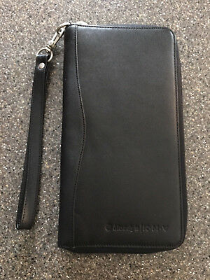 Brookstone International Travel Wallet Organizer Black Nappa Leather Zip w/Strap