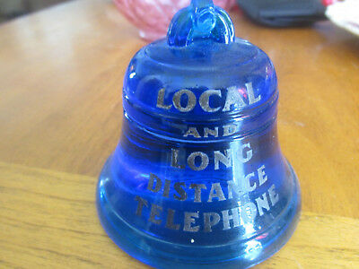 early blue bell telephone paperweight frosted etched