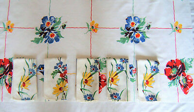 Vintage Matching Tablecloths (2) and 5 Napkins ~ Bright Colors Poppies, Daisies
