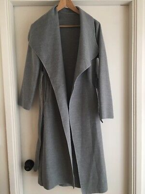 Ladies Plain Long Duster Coat Italian Women Waterfall Gray Belted Jacket Dress